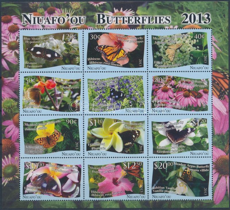 Lepkék 12 bélyeget tartalmazó kisív, Butterflies 12 stamps in minisheet