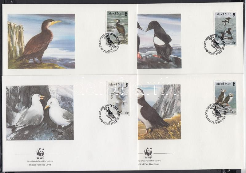 WWF Sea birds set 4 FDC, WWF Tengeri madarak sor 4 FDC-n