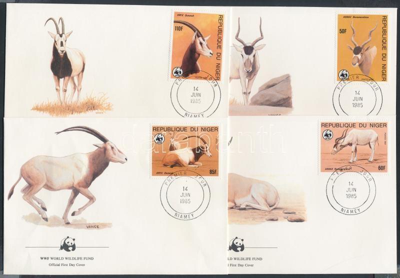 WWF Antelopes set on 4 FDC, WWF Antilopok sor 4 FDC-n