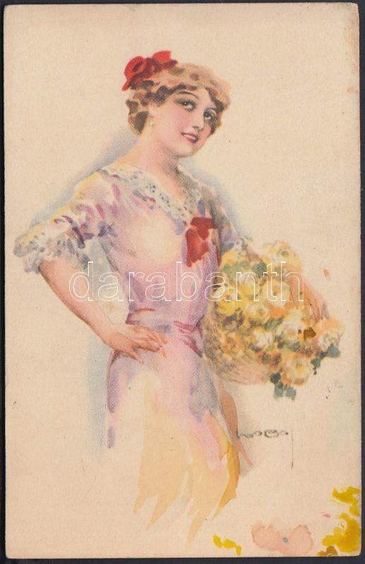 Italian art postcard, lady with flowers s: Usabal, Hölgy virágokkal, s: Usabal