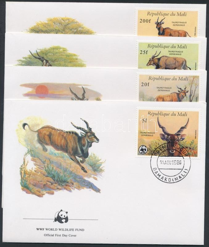 WWF Animals set on 4 FDC, WWF állatok sor 4 FDC-n