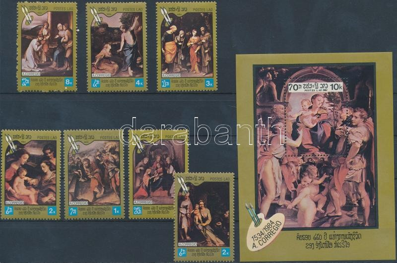Correggio paintings set + block, Correggio festmények sor + blokk