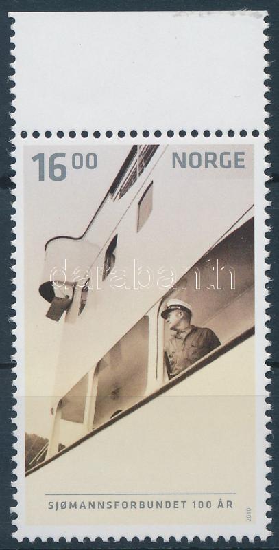 Centenary of Norwegian navy margin stamp, 100 éves a norvég tengerészet ívszéli
