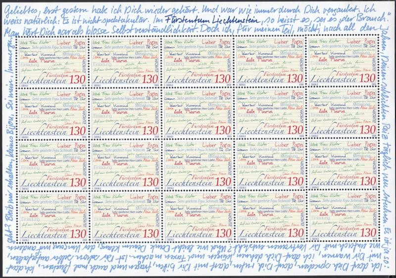 Europa CEPT a levél kisív, Europa CEPT the letter minisheet