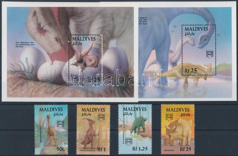 Stamp Exhibition: Dinosaurs 4 diff. value + 2 blocks, Bélyegkiállítás: Dinoszauruszok 4 klf érték + 2 blokk