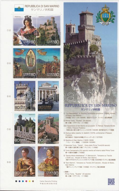 Republic of San Marino, San Marino-Japan joint edition minisheet, San Marino Köztársaság, Japán-San Marino közös kiadás kisív