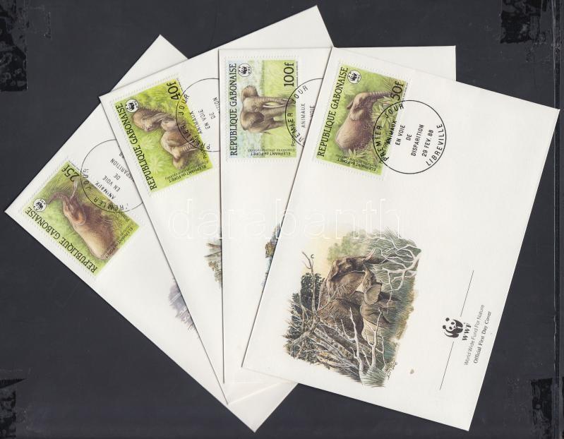 WWF Forest elephants set on 4 FDC, WWF Erdei elefánt sor 4 FDC