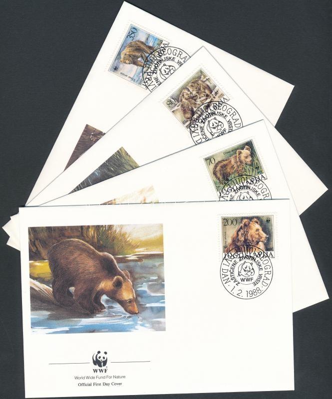 WWF Brown Bear set on 4 FDC, WWF Barna medve sor 4 FDC-n