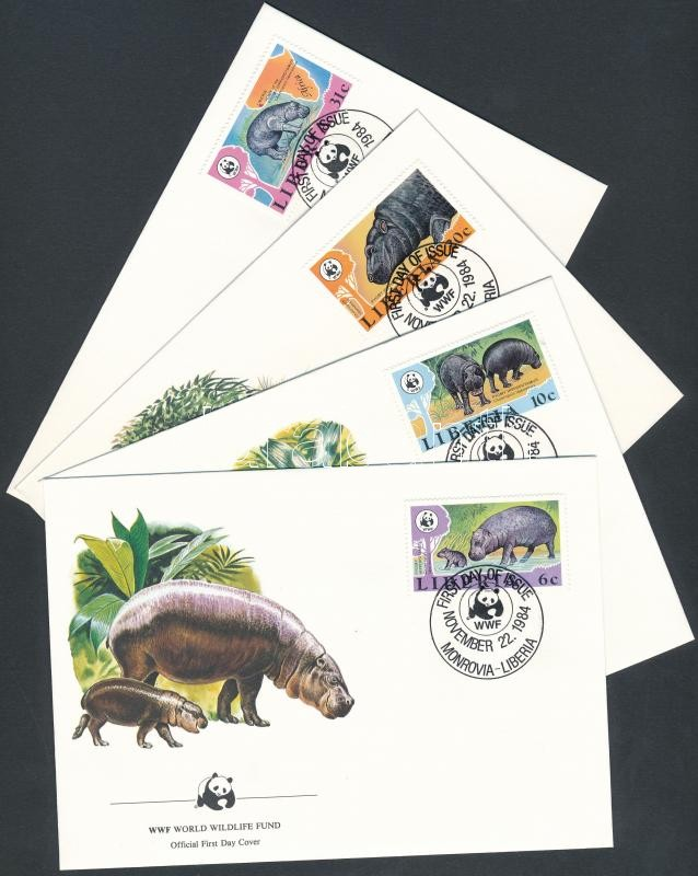 WWF Pygmy hippo set 4 FDC, WWF törpevíziló sor 4 FDC
