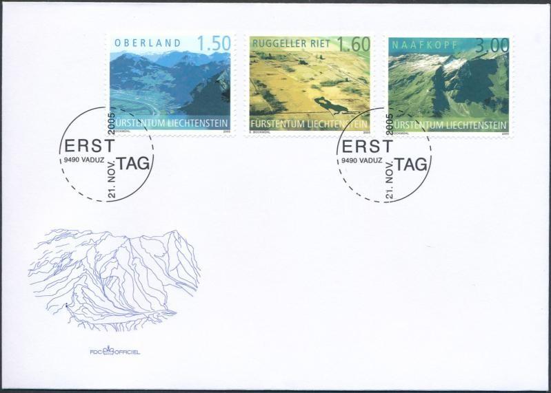 Aerial photographs set FDC, Légi felvételek Liechtensteinről sor FDC