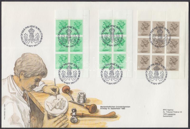 Queen Elizabth II 2 corner block of 6 + 2 corner block of 9 from stamp-booklet + stamp-booklet 2 FDC, II. Erzsébet királynő 2 ívsarki hatostömb + 2 ívsarki kilencestömb bélyegfüzetből + bélyegfüzet  2 FDC