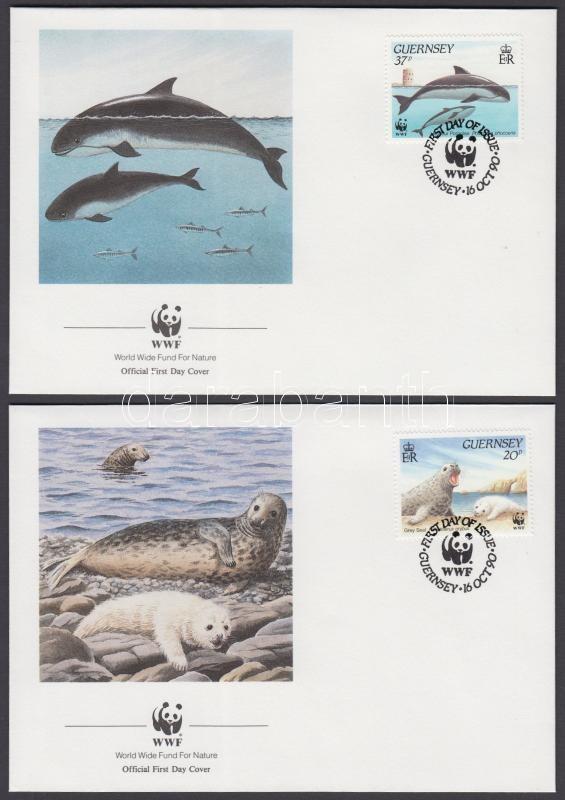 WWF Sea animals set 4 FDC, WWF tengeri állatok sor 4 FDC