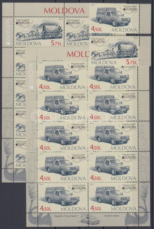 Europa CEPT Postal Vehicles margin set + mini sheet pair, Europa CEPT Postai járművek ívszéli sor + kisívpár
