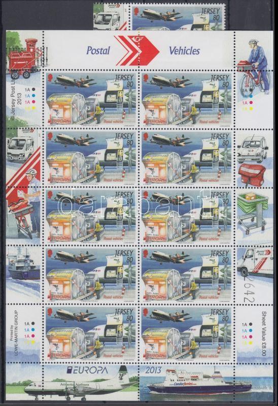 Europa CEPT Postal Vehicles margin stamps + mini sheet pair, Europa CEPT Postai járművek ívszéli bélyegek + kisívpár