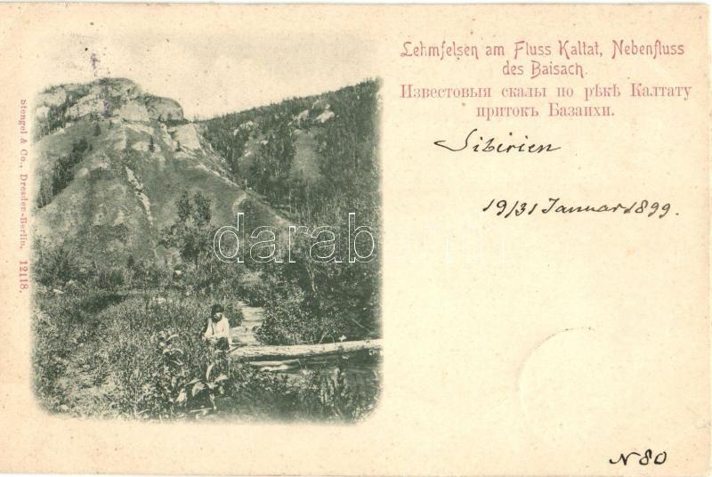 1899 Kaltat River (Bazaikha); Lehmfelsen / rocks