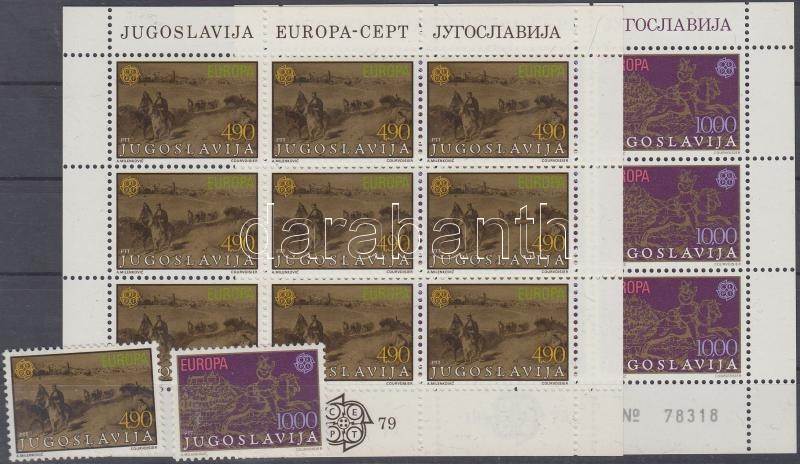 Europe CEPT History of post and telecommunication set + minisheet set, Europa CEPT a posta és a távközlés története sor + kisívsor