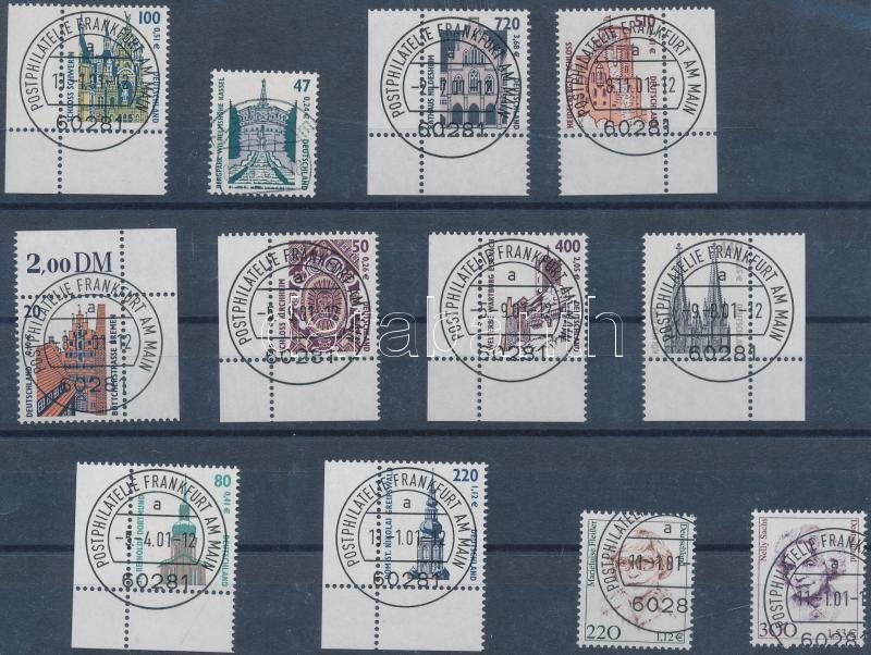 Definitive 12 diff. normal and corner stamps with first day cancellation, Forgalmi 12 klf normál és ívsarki bélyeg első napi bélyegzéssel