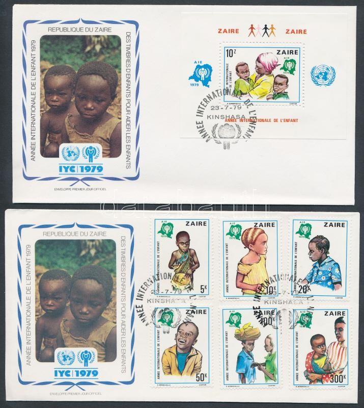International Year of Child set + block 2 FDC, Nemzetközi gyermekév sor + blokk 2 FDC