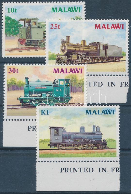 Locomotives set, Gőzmozdonyok ívszéli sor (közte normál bélyeg)