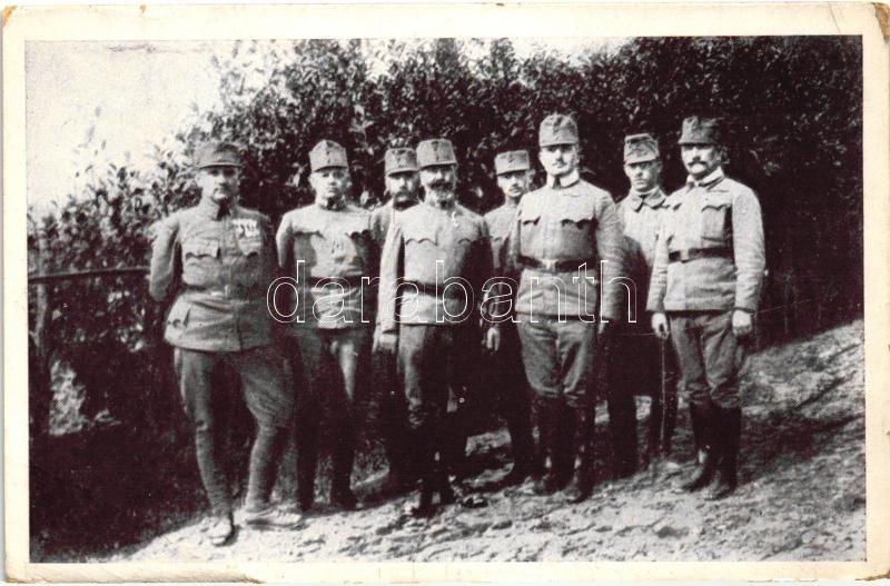 WWI Hungarian military card, regimental commander, 1916 Az ezredparancsnok törzsével és zászlóalj parancsnokaival