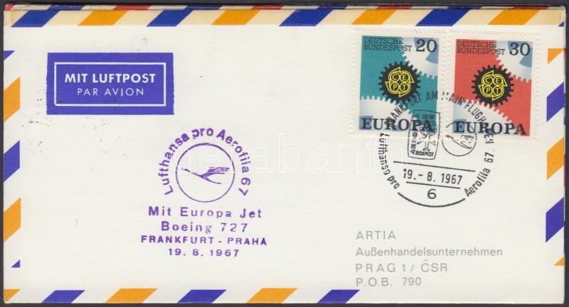 Lufthansa-MALÉV rankfurt-Prague-Budapest occasional flight memorial sheet to Aerofila stamp exhibition, Lufthansa-MALÉV Frankfurt-Prága-Budapest alkalmi repülés emléklap az Aerofila bélyegkiállításra