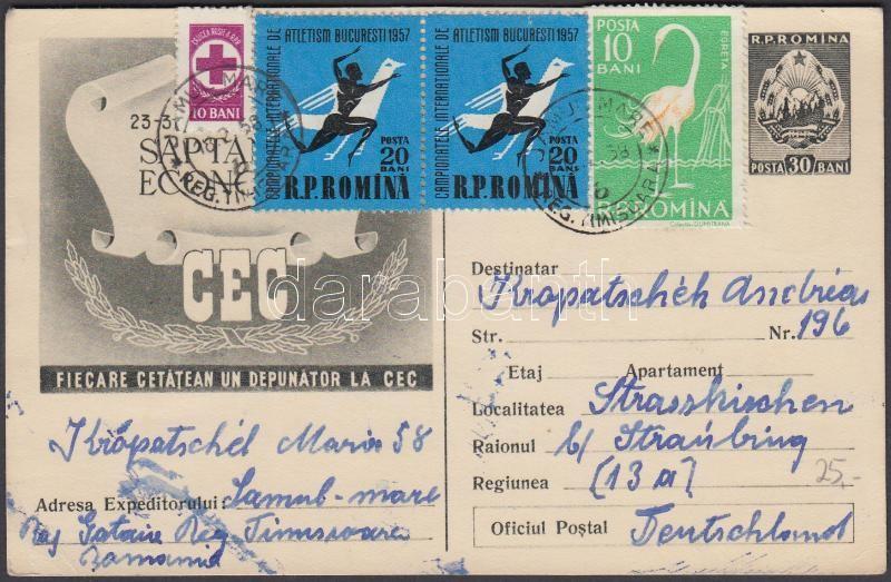 PS-card with additional franking to the FRG, Díjkiegészített díjjegyes levelezőlap az NSZK-ba