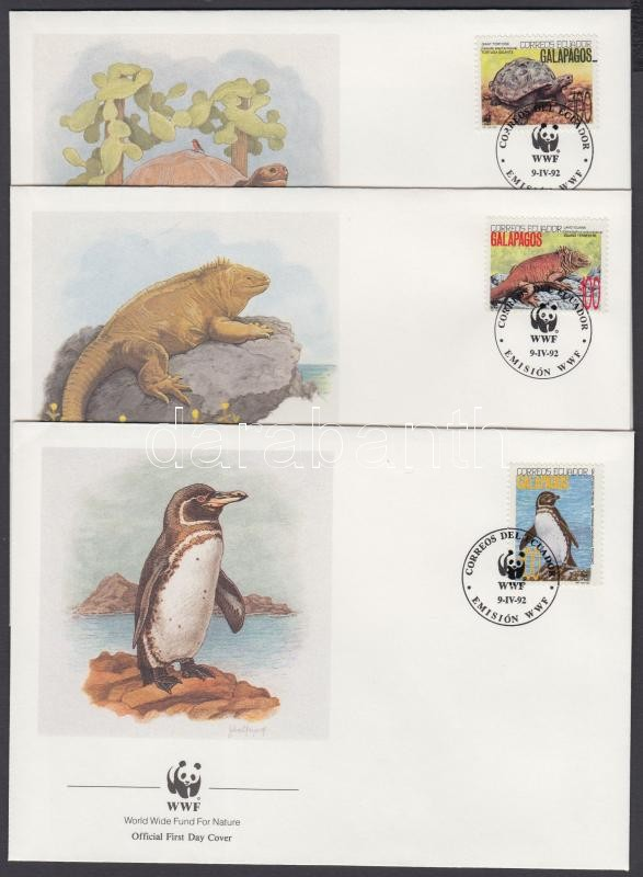 WWF wildlife stamps from one set (pale machine set-off) + same values on 4 FDC, WWF élővilág bélyegek egy sorból (halvány gépszínátnyomat) + ugyanazok az értékek 4 FDC-n