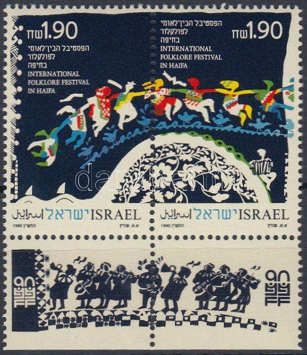 Folklore Festival stamp pair with tab, Folklór Fesztivál tabos bélyegpár