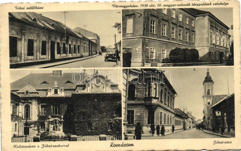 Komárno, street, county hall, cultural palace, Komárom, Jókai szülőház és utca, Vármegyeház, Kultúrpalota