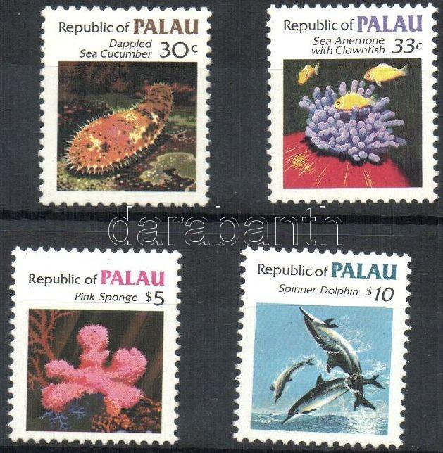 Marine animals 4 diff. stamps, Tengeri állatok 4 klf bélyeg