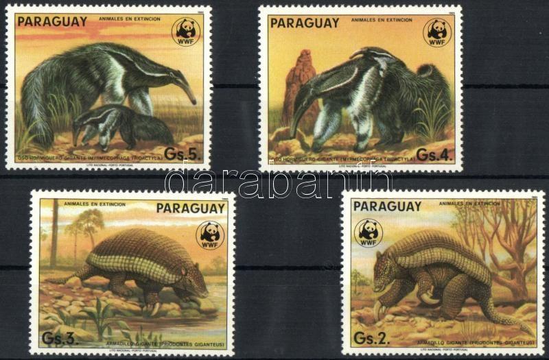 WWF Paraguay animals stamps form 1 set (fingerprint), WWF paraguayi állatok bélyegek egy sorból (ujjlenyomat)