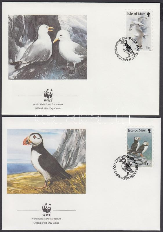 WWF Seabirds stripe of 4 + the same set on 4 FDC, WWF Tengeri madarak négyescsík + ugyanaz a sor 4 FDC-n
