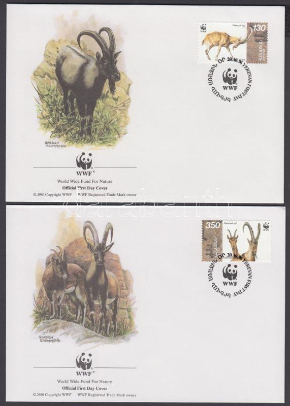 WWF Wild Goat set (Small gum disturbance) + set on 4 FDC, WWF Vadkecske sor (apró betapadásnyomok) + ugyanaz a sor 4 FDC-n