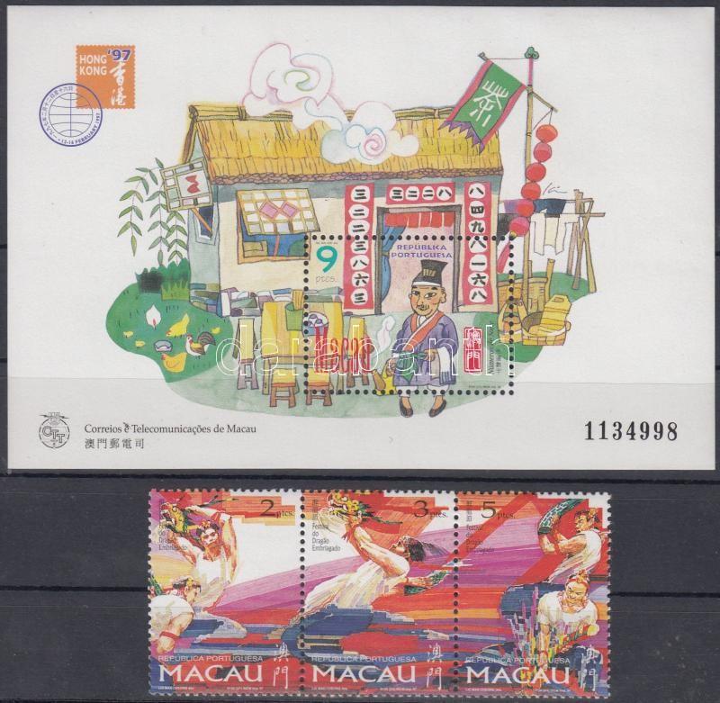 Dragon Festival stripe of 3 + block, Sárkány fesztivál hármascsík + blokk