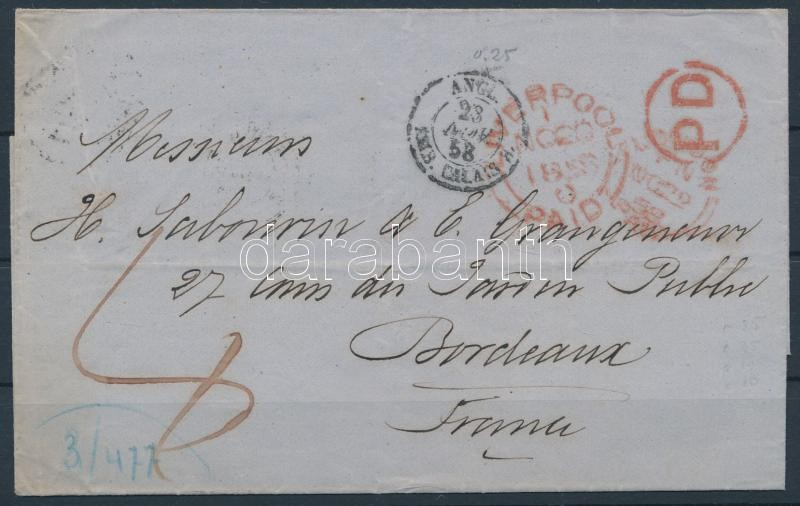 Letter with postage due to France, Portós levél Franciaországba