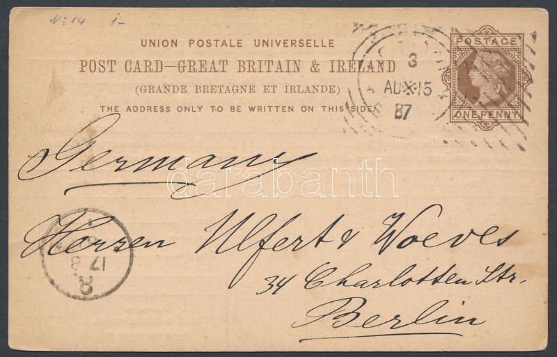 PS-card with experimental cancellation to Berlin, Díjjegyes levelezőlap kísérleti bélyegzéssel Berlinbe
