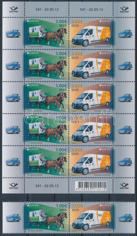 Europa CEPT Postal Vehicles pair + mini sheet, Europa CEPT Postai járművek pár + kisív