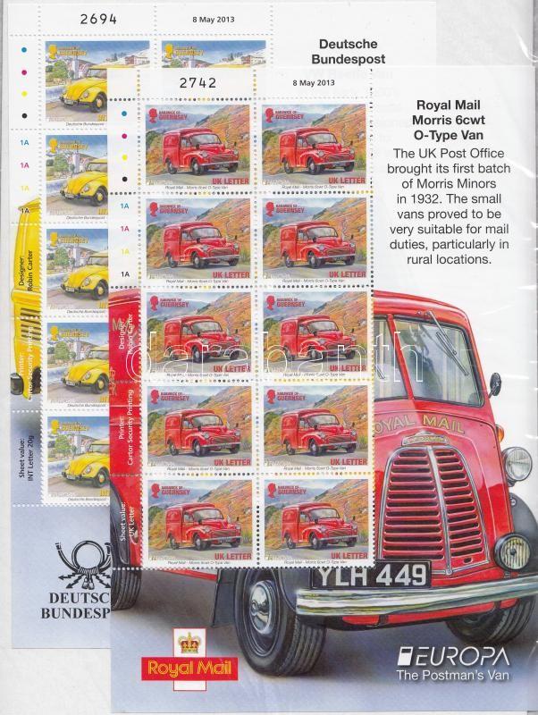 Europe CEPT Postal vehicles minisheet pair, Europa CEPT Postai járművek kisívpár
