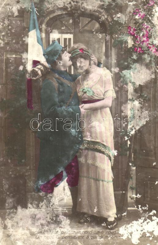 French soldier, romantic couple, Francia katona a kedvesével