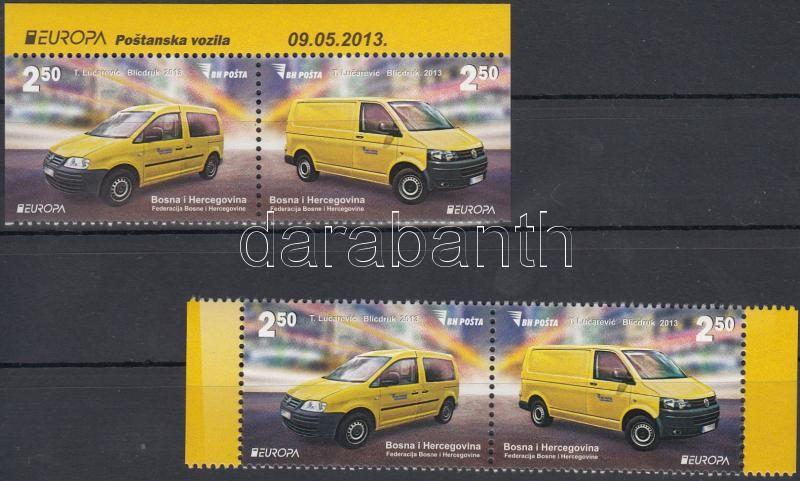 Europe CEPT Postal vehicles pair + pair from stamp-booklet, Europa CEPT Postai járművek pár + pár bélyegfüzetből