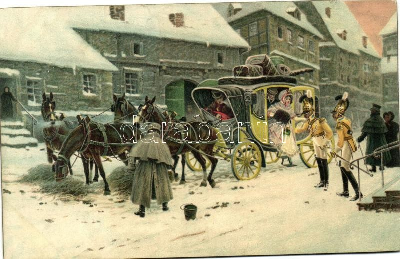 Berlin, arrival of the stagecoach, litho