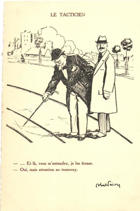 'Le Tacticien' propaganda, artist signed, Francia propaganda, művész aláírásával
