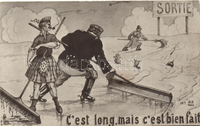 'C'est long, mais c'est bien fait', French military propaganda, humour, artist signed, Francia katonai propaganda, humor, művész aláírásával