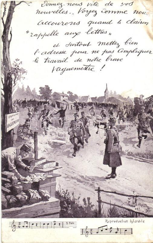 Office of postmaster, French soldiers, artist signed, Postamester, francia katonák, művész aláírásával