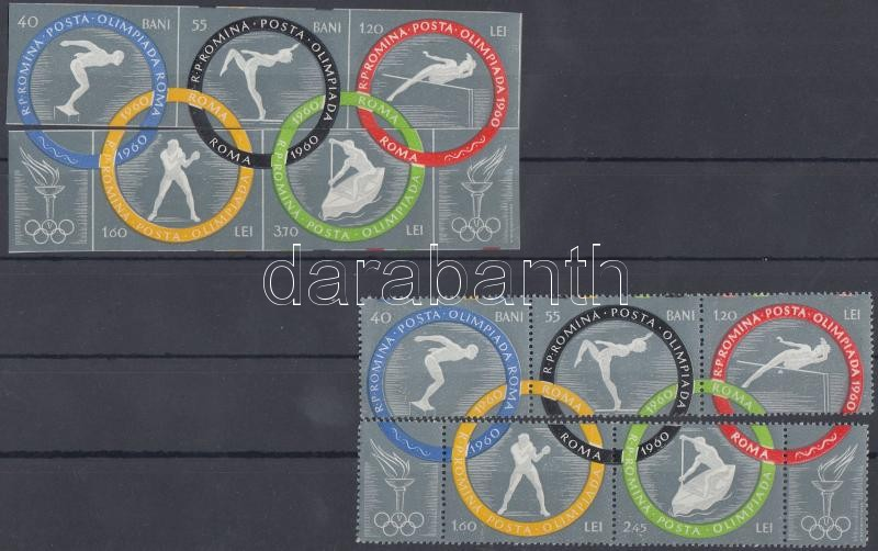 Summer Olympics, Rome perforated and imperforated stripes of 3, Nyári olimpia, Róma fogazott és vágott hármascsíkok