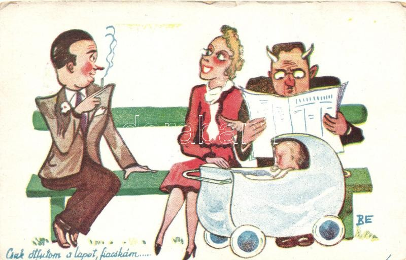 Husband and wife with baby, humour, Csak átfutom a lapot, fiacskám...