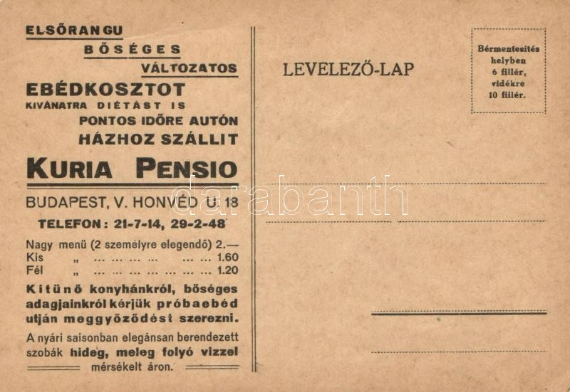Hungarian restaurant advertisement, Kuria Pensio reklám, Budapest V. Honvéd utca 18.