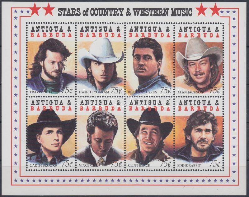 Country and western stars mini sheet, Country és western sztárok kisív