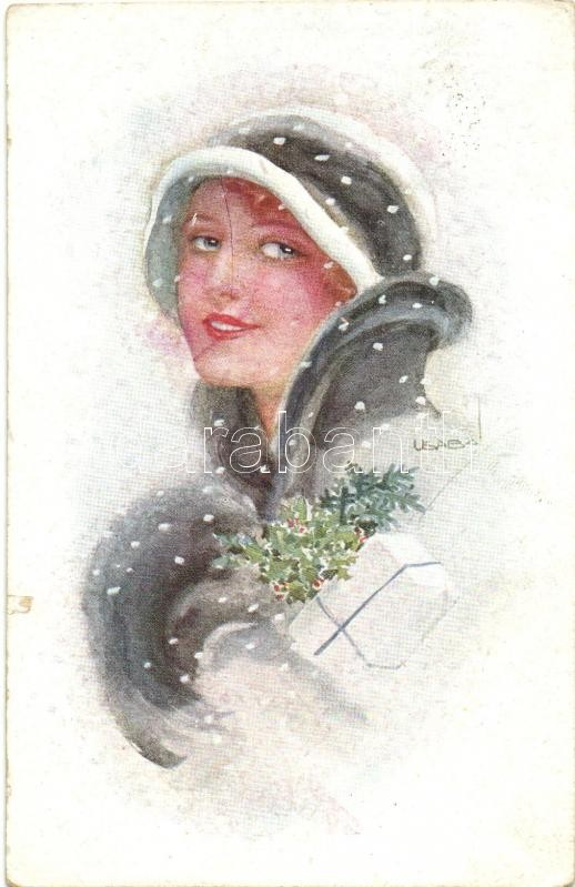 Lady with gift, winter