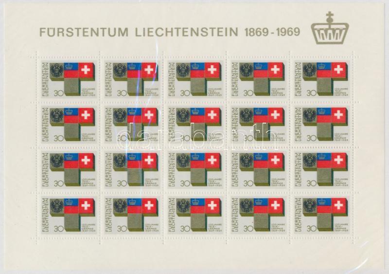 Centenary of Liechtenstein Telegrafia mini sheet, 100 éves a liechtensteini telegráfia kisív